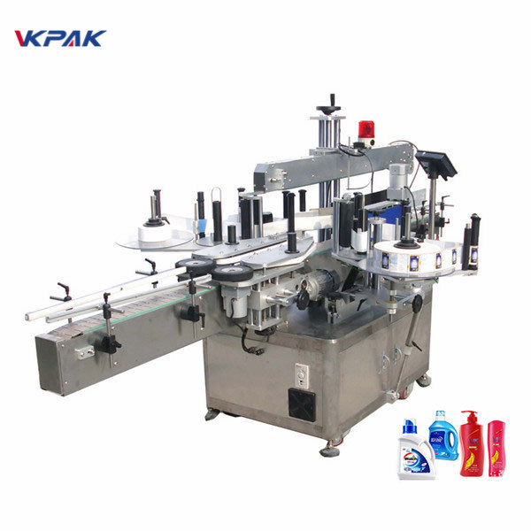 Vollautomatische Doppelseiten-Aufkleber-Etikettiermaschine Flachetikettenapplikator